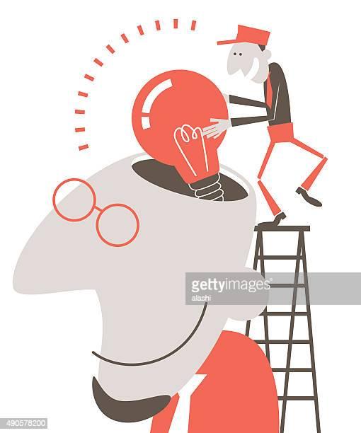 Designer head open, man on ladder putting idea bulb into