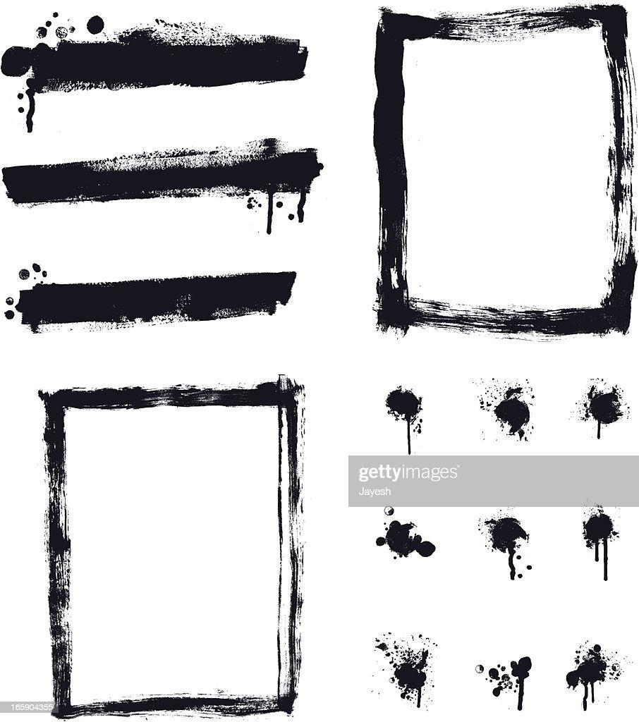 Designer Vector Element Collection - Banner Border Paint Spalter Set