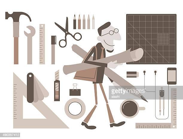 Designer walking with sketch (plan, blueprint, layout), pencil, design tool