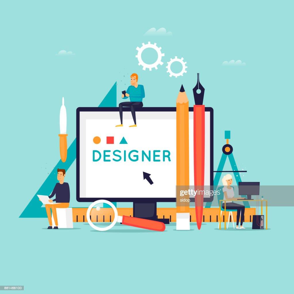 Designer workplace and tools. Flat design vector illustration.