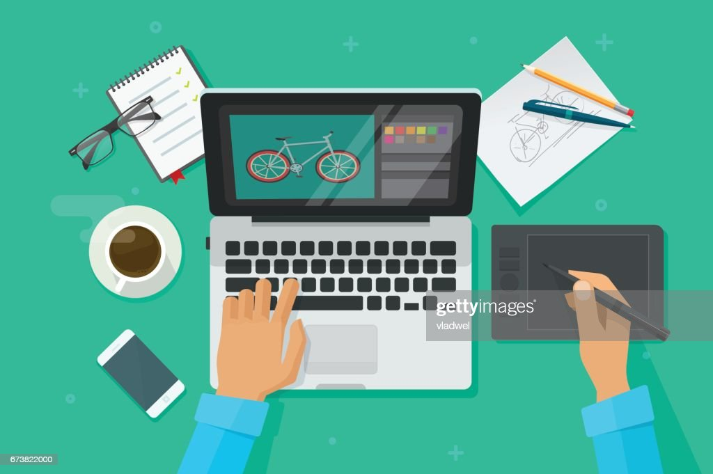 Designer workplace vector illustration top view, person drawing on pen tablet on laptop computer, graphic designer