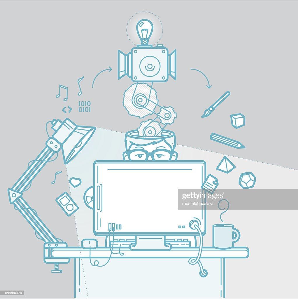 Designer's creative process : stock illustration
