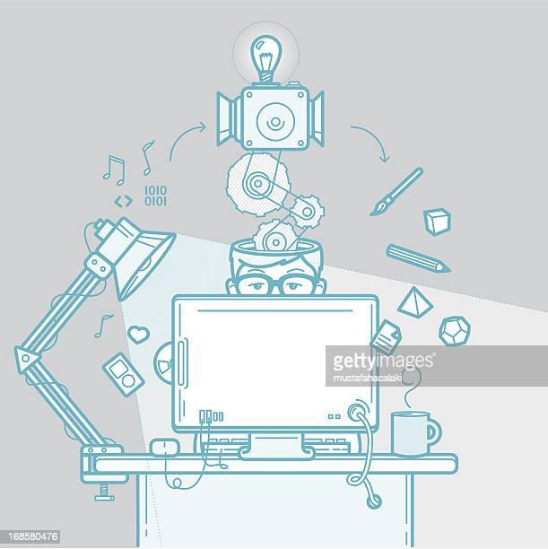 illustrations, cliparts, dessins animés et icônes de processus créatif de designer - graphiste
