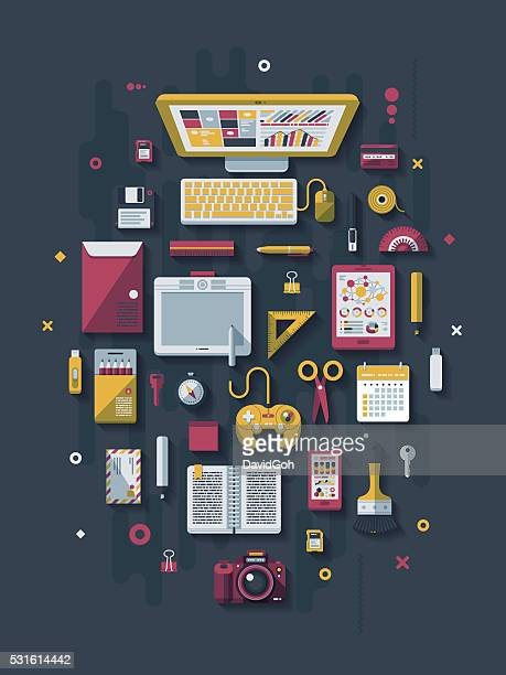 designer's desk flat design concept - floppy disk stock illustrations, clip art, cartoons, & icons