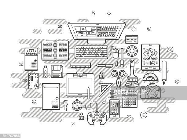 illustrations, cliparts, dessins animés et icônes de conception plat de bureau concept de design - graphiste