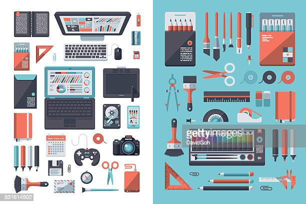 designer's desk flat design set - computer part stock illustrations