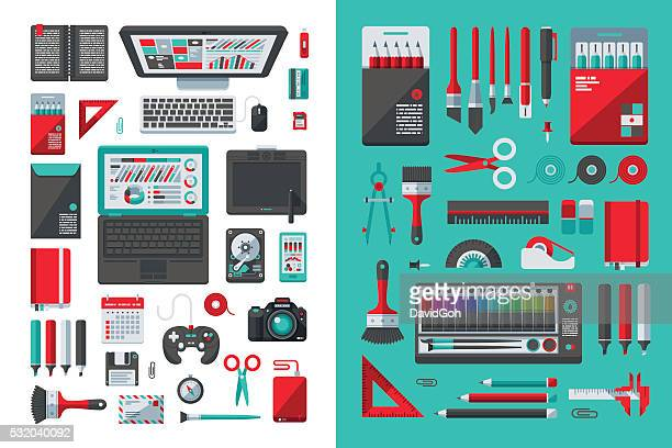 designer's desk flat design set - paper clip stock illustrations, clip art, cartoons, & icons
