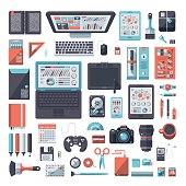 Designer's Desk Flat Design Set