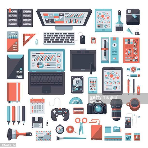 designer's desk flat design set - hard drive stock illustrations, clip art, cartoons, & icons