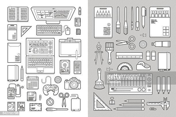 designer's desk flat design set - floppy disk stock illustrations, clip art, cartoons, & icons