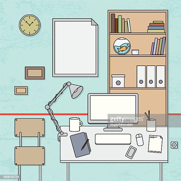 designer's desktop - fishbowl stock illustrations, clip art, cartoons, & icons