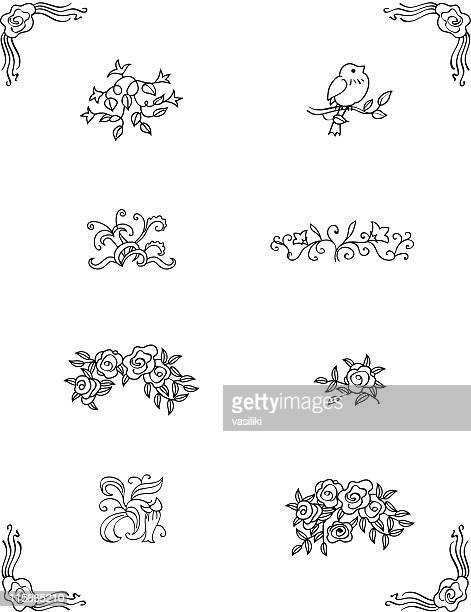 設計のオーナメント: 花&プラント(ベクトル - ビネット点のイラスト素材/クリップアート素材/マンガ素材/アイコン素材