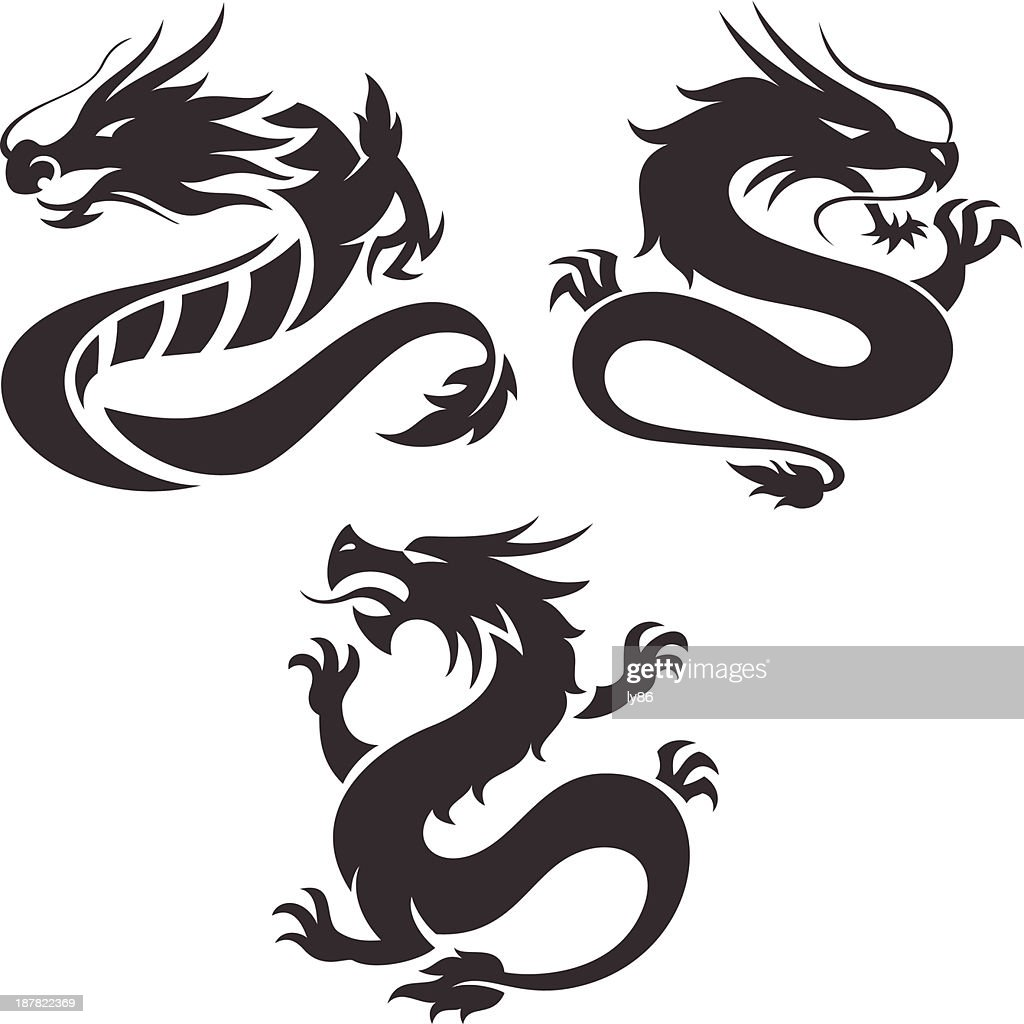 Designs of Chinese dragons on a white background