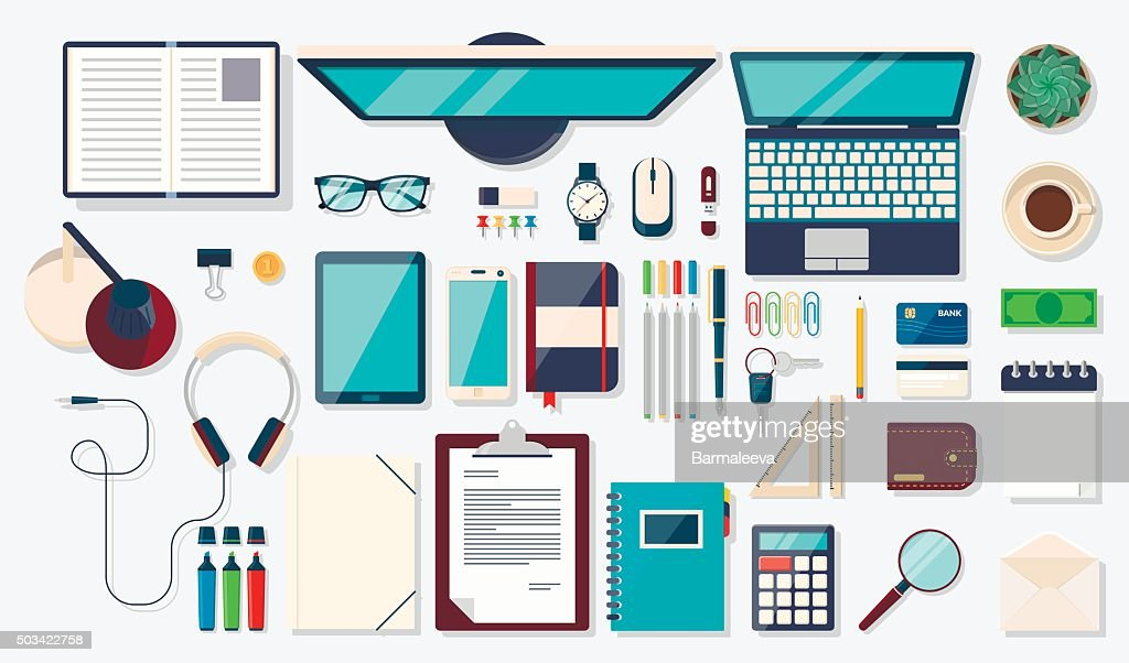 Desk background with digital devices and office objects