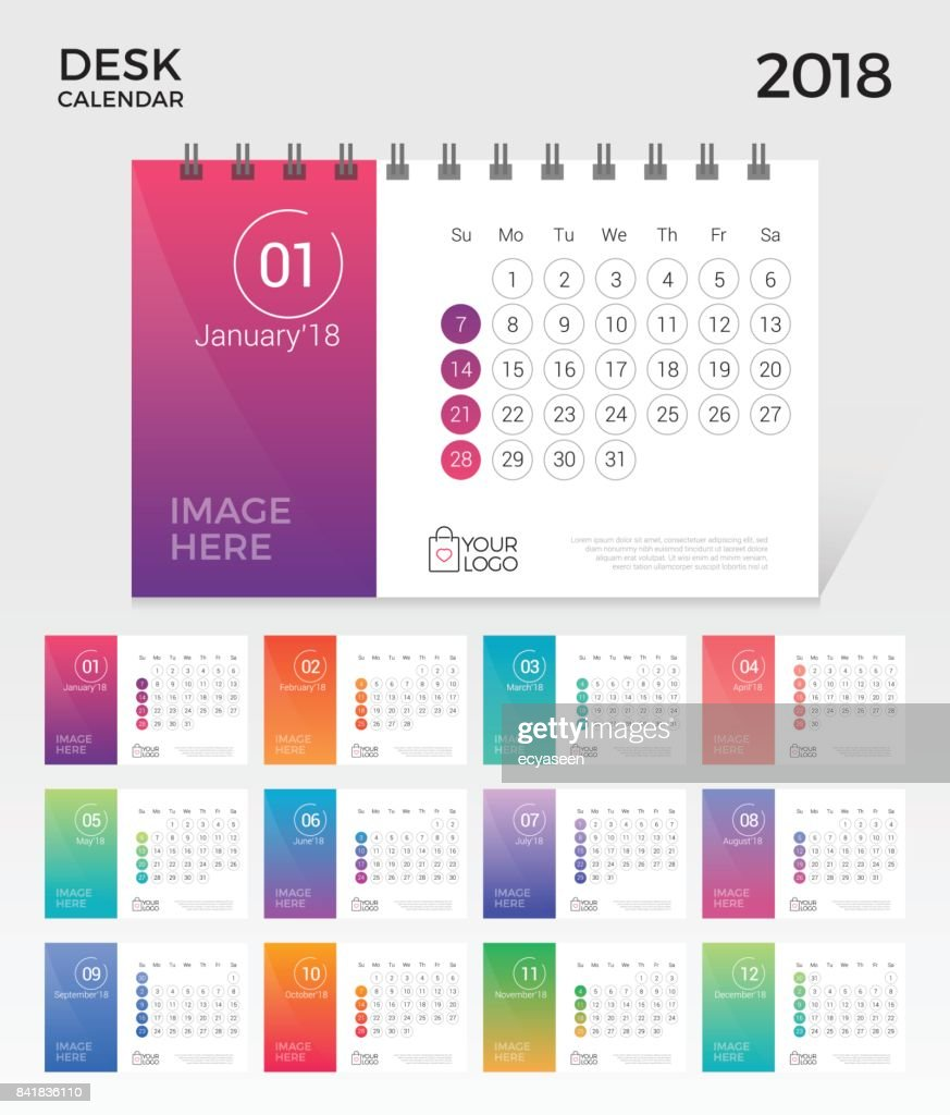 Desk Calendar 2018. Simple minimal elegant desk calendar numbered month template in white background