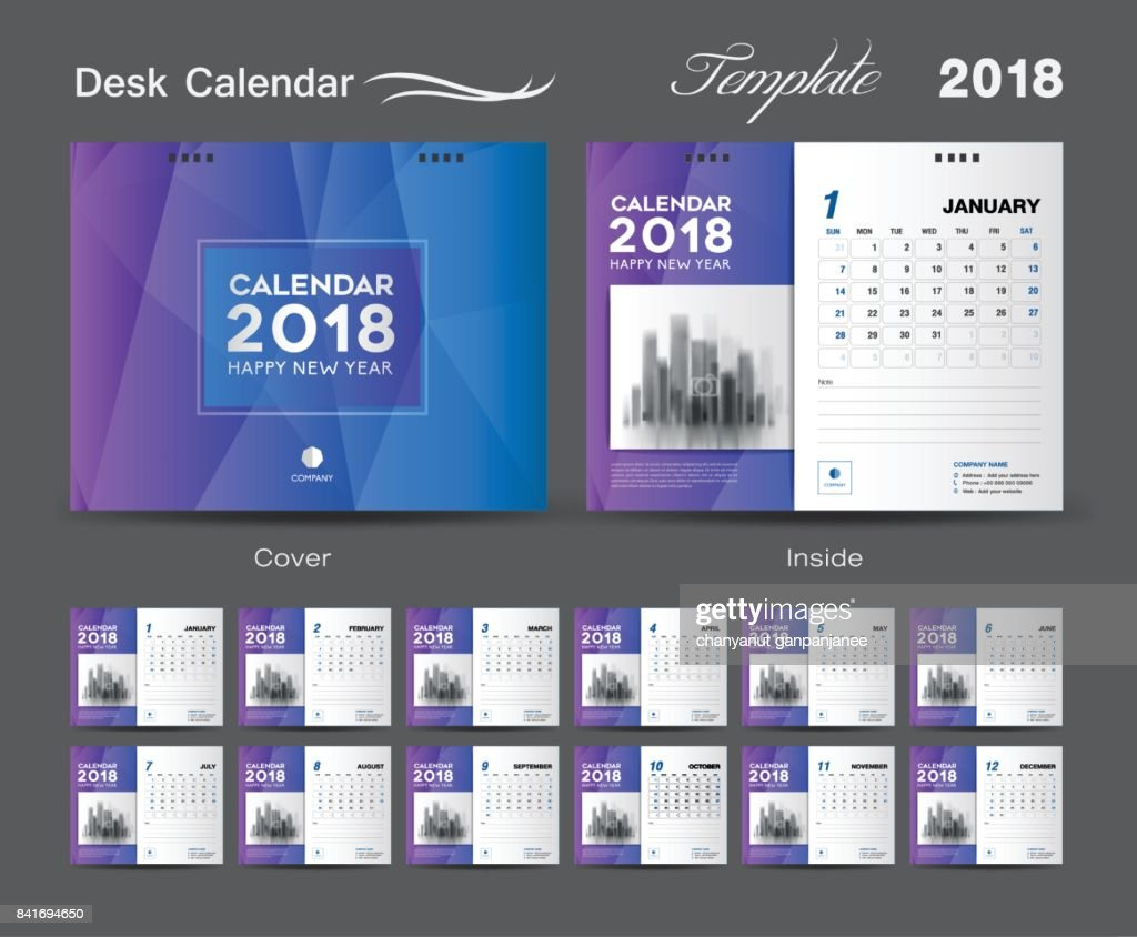 Desk Calendar 2018 template design, blue cover, Set of 12 Months, Business calendar idea