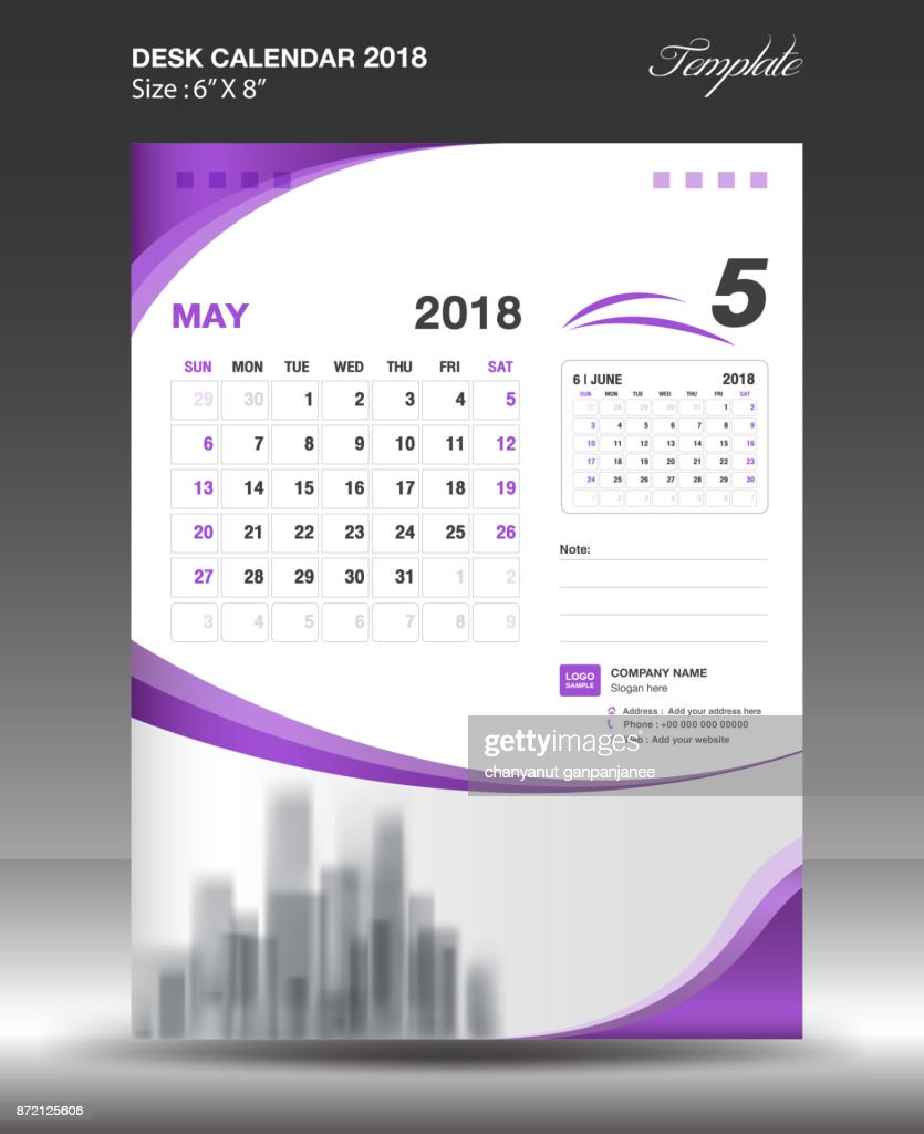 May Desk Calendar 2018 Template Design Flyer Vector Business ...