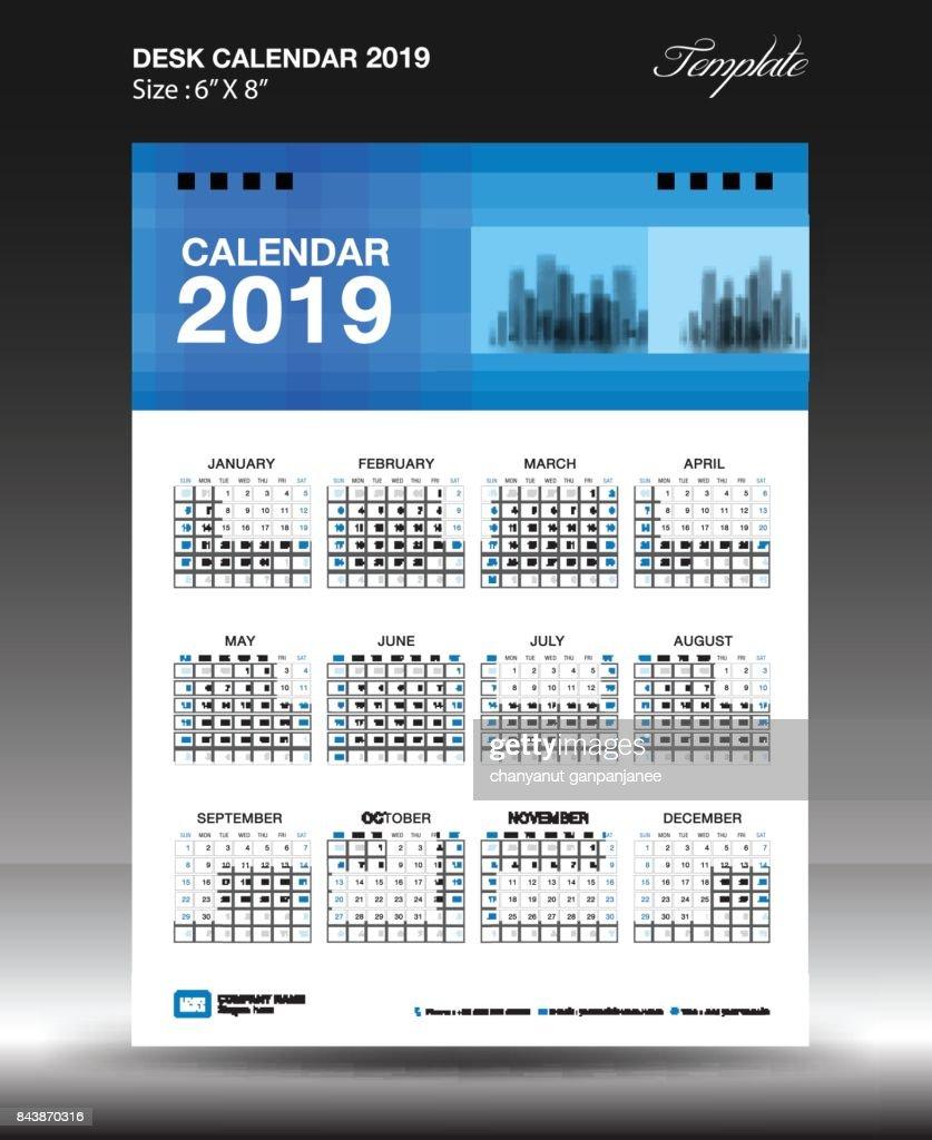 Desk Calendar 2019 Template Design Wall Calendar 2019