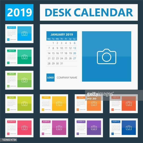 2019 Tischkalender. Tage sind Montag ab. Europäische version