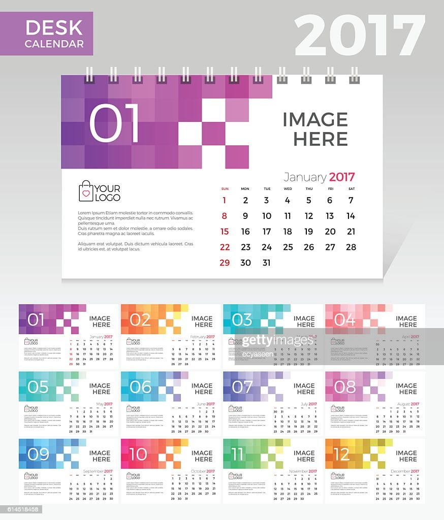 Desk Calendar. Simple Colorful Gradient Pixel elegant desk calendar template