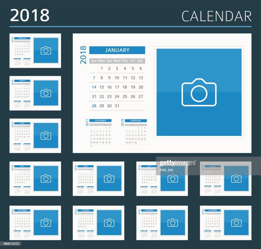 2018 Desk Calendar: Sunday - Monday : stock illustration