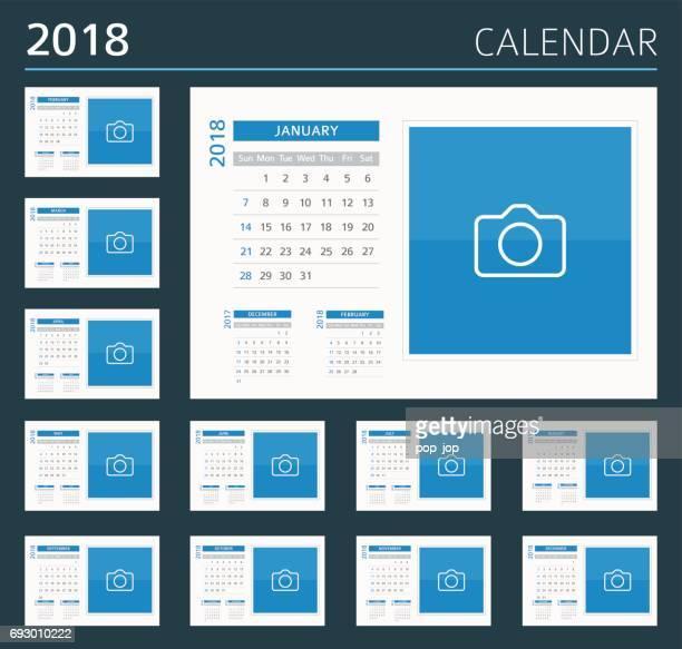 2018 Desk Calendar: Sunday - Monday