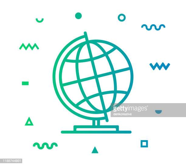 illustrazioni stock, clip art, cartoni animati e icone di tendenza di design dell'icona dello stile della linea globo da scrivania - mappamondo