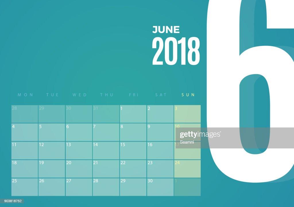 Desk June 2018 Calendar. Vector Template