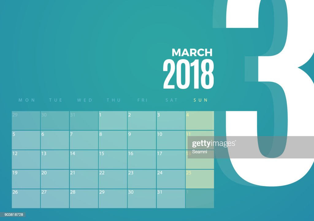 Desk March 2018 Calendar. Vector Template