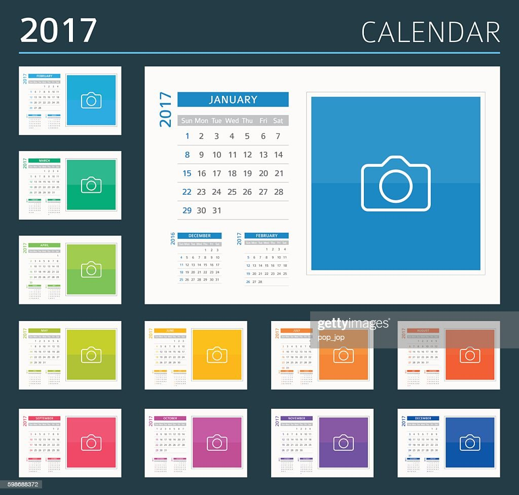Desk, Wall Calendar 2017 - illustration