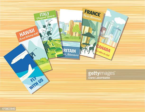 Desk With Brochures For Planning For Travel Or A Vacation