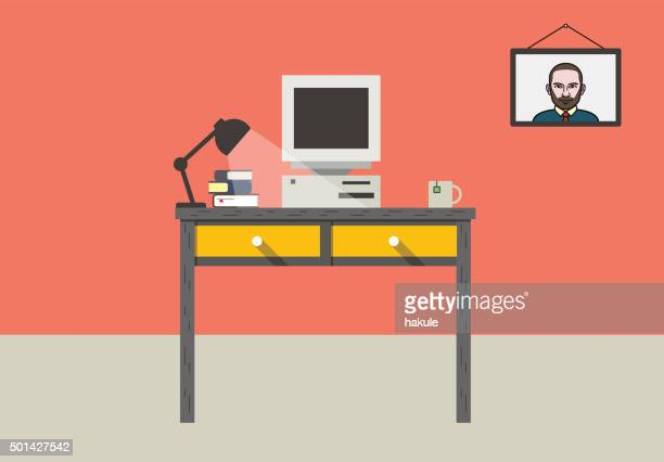 desk with computer and other things, vector - computer stock illustrations, clip art, cartoons, & icons