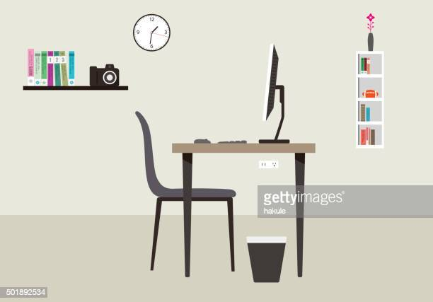 desk with computer and other things, vector - other stock illustrations, clip art, cartoons, & icons
