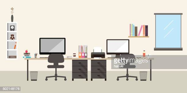 desk with computer and other things, vector - office stock illustrations