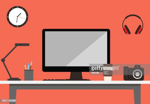 desk with computer and other things, vector