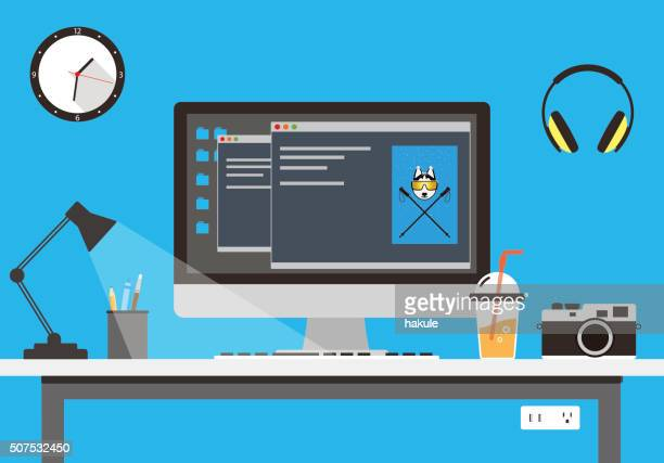desk with computer and other things, vector - computer stock illustrations