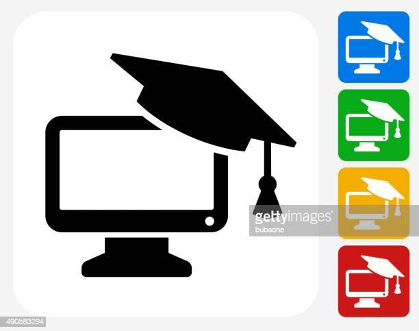 ilustraciones, imágenes clip art, dibujos animados e iconos de stock de sobremesa y tapa de graduación de iconos planos de diseño gráfico - birrete