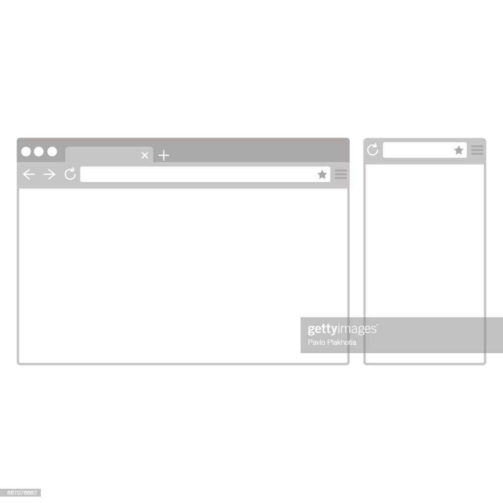 Desktop and mobile phone browser windows. Different devices web browser in flat design style