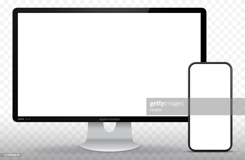 Desktop Computer Screen and Smart Phone Vector Illustration with Transparent Background