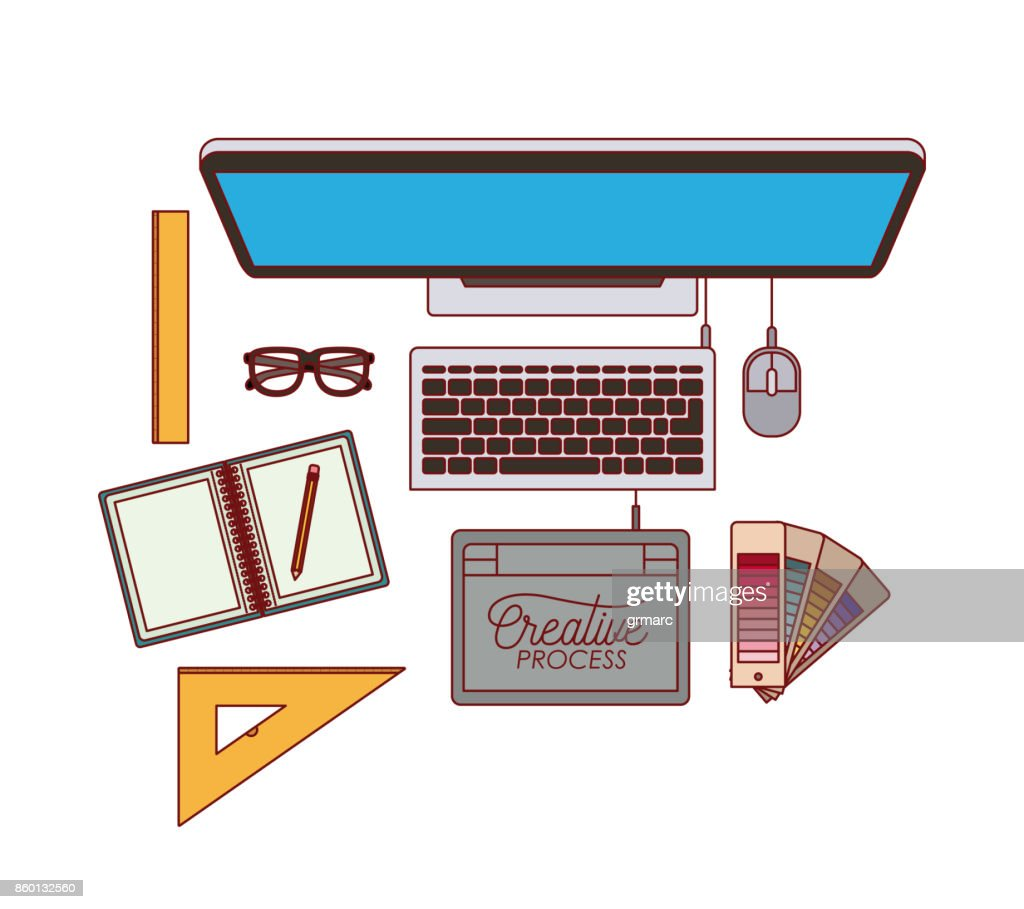 desktop computer top view with elements graphic design on white background