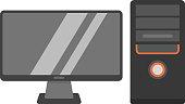 Desktop computer vector illustration.