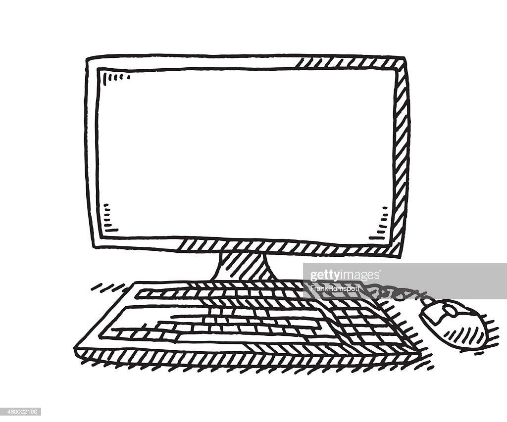 Ordinateur avec clavier et souris de dessin clipart - Souris ordinateur dessin ...