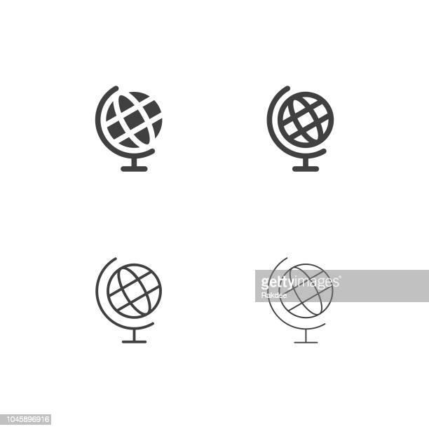 illustrazioni stock, clip art, cartoni animati e icone di tendenza di desktop globe icons - multi series - mappamondo