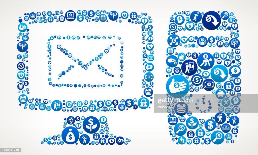 Desktop-Mail Geld blaues Symbol Muster Hintergrund : Stock-Illustration