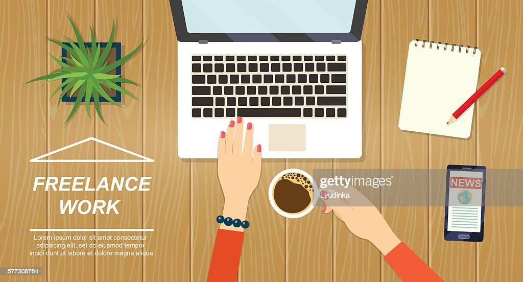 Desktop mix on a wooden table background.Vector flat illustration