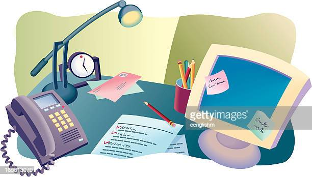 desktop modern - ballpoint pen stock illustrations, clip art, cartoons, & icons