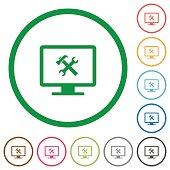 Desktop tools flat icons with outlines