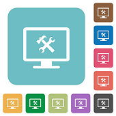 Desktop tools rounded square flat icons