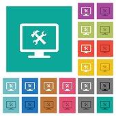 Desktop tools square flat multi colored icons