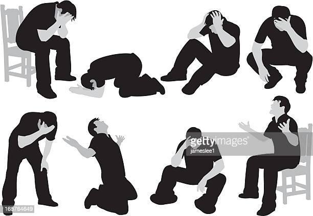 ilustraciones, imágenes clip art, dibujos animados e iconos de stock de desesperación - hombre llorando